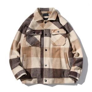 Yün Mont Ceketler Erkekler 2020 Yeni Sonbahar Kış Retro Rahat Yün Ekose Ceket Erkek Moda Ceket Kore Streetwear Mantel Wolle1