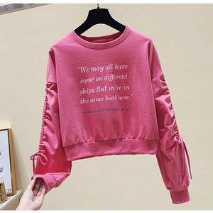 The new autumn and Winter Long Sleeve Hoodie women's pure color printed cotton upper sleeves irregular drawstring t-shirt tide