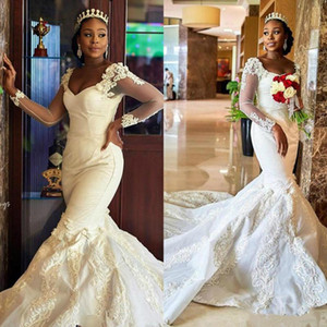 Luxury 2021 African Mermaid Plus Size Wedding Dresses V Neck Bridal Dress Long Sleeves Vintage Sexy Court Train Wedding Gowns
