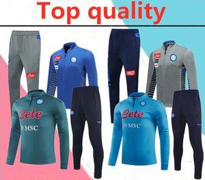 2020 Napoli Hamsik Insigne Callejon Zielinski Adulto Futebol Tracksuit Long Zipper Jacket Set 20/21 SSC Nápoles Homens Futebol Futebol Terno