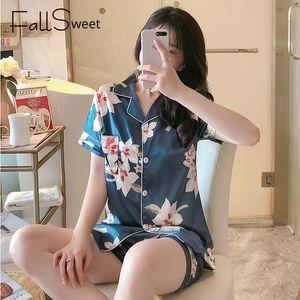 Fallsweet Silk Satin Pijamas para las mujeres mangas cortas ropa de dormir solapa pijama femme sexy dormir ropa M a XXL 201109