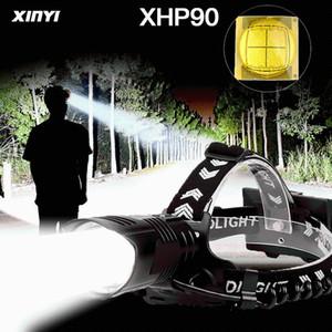 HeadLamp 300000LM USB Rechargeable USB puissant XHP90 / 70/50 LED phare phare 3MODE ZOOOOOOM lampe de tête de lampe de torche pour le camping