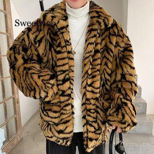 Homens marrons tigre padrão de lã jaqueta jaqueta jaqueta jaqueta outwear Oversized outwear casacos quente homem tigre grão imitar fur1