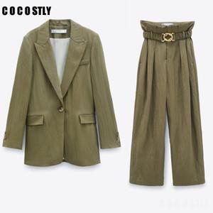 Women Suits OL Work Vintage 2 Piece Set Office Blazer Jacket + Zipper Pants Suit Blazer Set Tops Trouser Female Outfits 200930