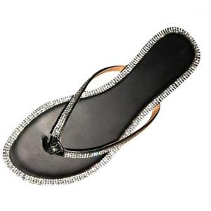 Women's Flip Flops Slipper Sandals Flat Slippers Casual Beach Sliders Outdoor Crystal Roman Shoes summer womans Beach shoes1