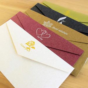 Vintage Bronzing Invitations Cartes Enveloppe Kraft Paper Carte d'invitation d'entreprise Enveloppes Partie de mariage Invite Personnalisable DHD3727