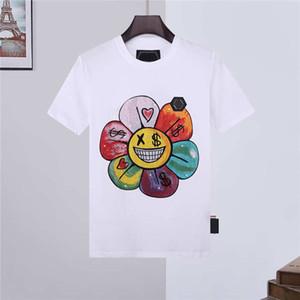 21SS прохладный печатный цветок хлопок с коротким рукавом мужчины молодой новой футболкой Tee футболка повседневная свободная летняя мужская филипп