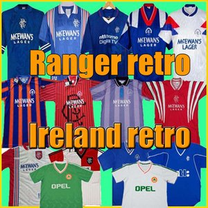 vintage 87 90 92 94 96 97 99 01 Glasgow Rangers Retro soccer jerseys blue away white Ireland Soccer Shirts football kits Uniforms