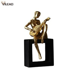 VILEAD Modern Creative Musician Figurines Violin Flute Guitar People Statue Resin Crafts Home Living Room Decoration Ornaments
