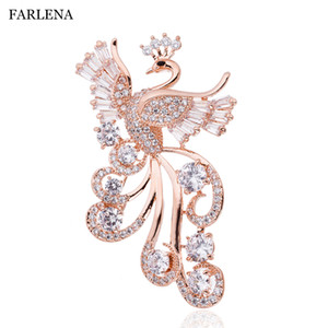 FARLENA Jewelry Cubic Zirconia Phoenix Brooch Badges Hijab pins Fashion CZ Crystal Brooches for Women clothing accessories Y200918