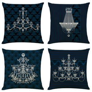 Jane European Chandelier Linen Cushion Covers Home Office Sofa Square Pillow Case Decorative Pillow Covers Without Insert (18*18Inch)