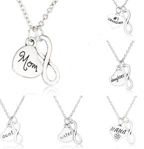 Factory9ETAdaughter brother Infinity Heart SON Vintage 20PCS Silver uncle dad mom aunt grandpa sister Necklaces Pendants