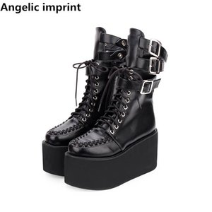Angelic imprint new mori girl Women motorcycle punk boots lady lolita shoes woman princess high heels dress pumps buckles 33-47