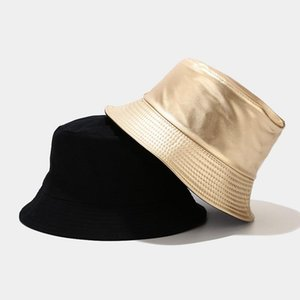 Fashion Faux Leather Bucket Hat Women Panama Fisherman Cap Men Double Sided Hat PU And Cotton Solid Black Golden Fishing Hats