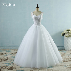 ZJ9082 Ivory White Princess Ball Pretty Lace Pearls Beads Sleeve Two Shoulder 2019 2020 Dresses Wedding Bride Gown Size 2-26W Q1113