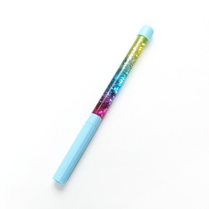 Rainbow Drift Sand Creative Ballpoint Pen Glitter Crystal Colorful Kids Novelty Stationery Gift Office Fun Release Relax Play Ball Pen