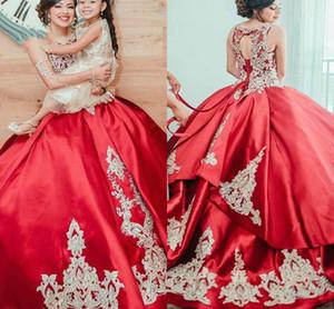 Vintage Red Satin Ball Gown Abiti da sposa araba Dubai Marocco 2021 Appliques del merletto in rilievo Abiti da sposa pannello esterno a file Plus Size AL7520