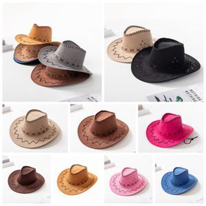 Fashion Cowboy Cap Parent-child Western Knight Hat Fashion Pull Rope Caps Outdoor Summer Beach Boy Girl Travel Sun Wide Brim Hats LJJP780