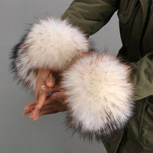 1pair Faux Fur Cuff Plush Costumes Party Arm Warmer Furry Winter Autumn For Women Fashion Elastic Gifts Coat Sleeve Leg Wrist