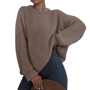 2020 women's sweaters Streetwear Women Casual O Neck Long Sleeve Solid Color Jumpers pullover Loose Knit Sweater
