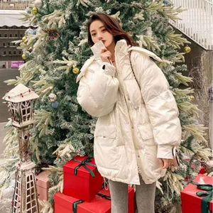 nuovo 2020 moda femminile inverno velcro breve incappucciato tendenza verso il basso giacca