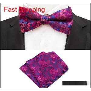 Conjunto de corbata de lazo para hombres rojo azul paisley bolsillo cuadrado bowtie traje hombre negocio boda hankerchief floral corbata qyleqh bdefashion