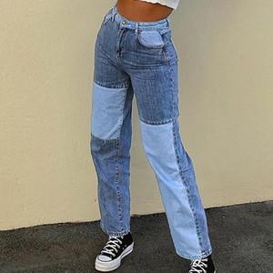 Muyogrt Patchwork Gerade Frauen-Jeans Baggy Vintage-hohe Taillen-Boyfriends Y2k-Denim-Hosen Distressed Street Damen Jeans