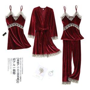 und goldener Samt-Pyjamas-Frauen-Herbst-Winter-New Langarm-Hosenträger-Robe vier stück sexy spitze aushöhlen Home-Gerinnsel