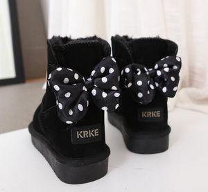 neue Art und Weise Schuhe Klassische hohe Qualität Kuhspalte Stiefel klassisches hohe Winterstiefel aus echtem Leder Bailey Bowknot Frauen bailey Bogen Schnee b