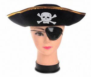 Unisex Halloween Pirate Skull Stampa capitano Cappelli costume Accessori Caraibi scheletro Cappelli Uomo Donna Bambini puntelli del partito Cappelli costume C qoEM #