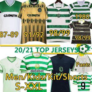 Retro Celtic 1980 87 89 91 92 98 99 Larsson Futbol Formaları Ev Uzaktan Futbol Gömlek Edouard Kahverengi Duffy KLimala Forrest Erkekler Kids Kiti Üniforma