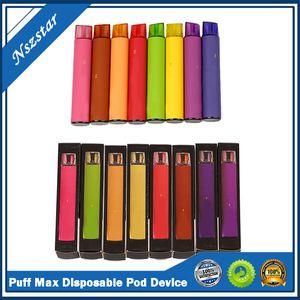 Новый Puff Max Одноразовая Vape Pen Kit 2000 пуфы 5% 1200mAh 8,5 мл Заводские Поставка быстрая перевозка груза электронной CIG VS Kangvape Onee Стик