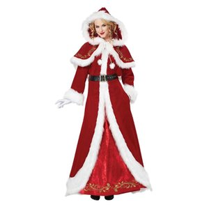Christmas Dress Women Christmas Costume With Cape For Adult Red Velvet Fur Dresses Hooded Sexy Female Santa Claus Costume
