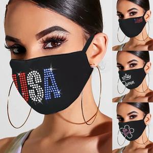 Crystal Inlay Face Mask Designer Multi letras Queen Sé amable EE. UU. América patrones de bandera resistente lavable Polvo de sol Boca Máscaras 6 25JYA L