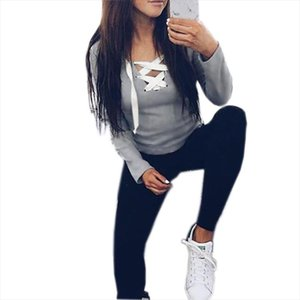 Sexy Casual Kawaii Hoodies Sweatshirts Women Fashion Long Sleeve V neck Bandage Hoodies Shirts Casual Sexy Women Tops Gv371