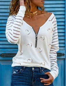Spring Autumn New V-Neck Blouse Shirts Vintage Floral Print Patchwork Pullover Tops Fashion Striped Long Sleeve Blusa Streetwear