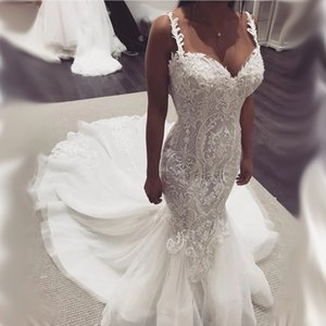 Elegant Appliques Lace Mermaid Dress Sweetheart Wedding Dress With Sweep Train Bridal Gowns Backless Formal robes de 2020