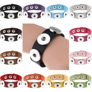 14 Цвет Snap кнопки Браслет Браслеты Браслеты шарма PU кожаные браслеты для женщин 18mm Snap кнопки Jewelry ZZC2710