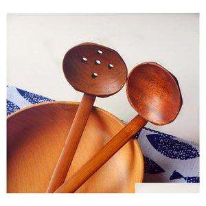2 стиля Woodenturtle суповой ложка дуршарные деревянные посуда японское стиль рамен деревянная длинная ручка горячая qyldbg lyqlove