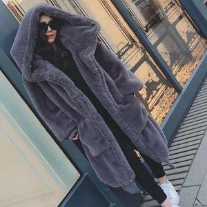 2021Winter Faux Fur Long Coat Women Thick Warm Fluffy Oversized Hooded Coats Overcoat Female Loose Plush Fur Jackets Outerwear