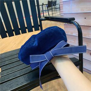 2020autumn inverno inverno cappello moda nastro fiocco berretto lettera ricamo cappelli invernali vintage maschio berretto francese cappello marina berretto navy blm104