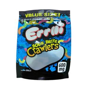 ERRLLI Edibles Mylar Tasche 600mg Sour Terp Crawlers Glowworms Verdrehte Brite Mäppchen Einzelhandel Lagerung Gummies Bag