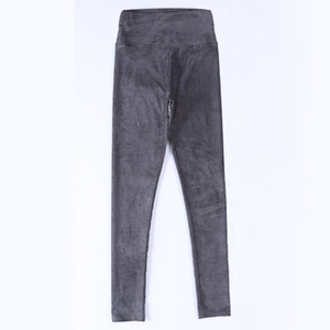 spring autumn suede leather women pants high waist large elastic slim retro leather suede pants for women 201007