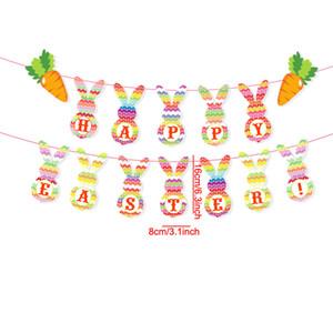 Mignon dessin animé lapin traction drapeaux drapeaux fête de Pâques jolies décorations bannières festival fête décoration décoration ornements vtky2312