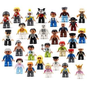 1Pcs Duplo Big Size Action Figures City Princess Policemen Family Building Blocks Compatible Brand Duploes Education Toy