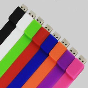 Full Capacity Silicone Bracelet Wrist Band 4GB 8GB 16GB 32GB USB 2.0 Flash Drive Pen Drive Stick U Disk Pendrives Memery Card