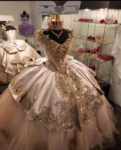 Luxury Pink Appliqued Beaded Corset Ball Gown Prom Sweet 16 Dress Quinceanera Dresses robe de princesse fille