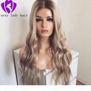 Middel Partie de la dentelle de la dentelle de la dentelle ombre perruque blonde Perruque de 30 pouces en dentelle long Wavy 360 Perruques synthétiques afro-américaines pour femmes noires