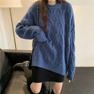 GUUZYUVIZ PINK LADORES Jersey suéter suelto Coreano Invierno Top Largo Sweather Jersey tejido de punto Harajuku 20201