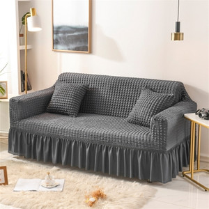 Solid Color Elastic Sofa Cover For Living Room Printed Plaid Stretch Sectional Slipcovers Sofa Couch Cover L shape 1-4-Seater 201222